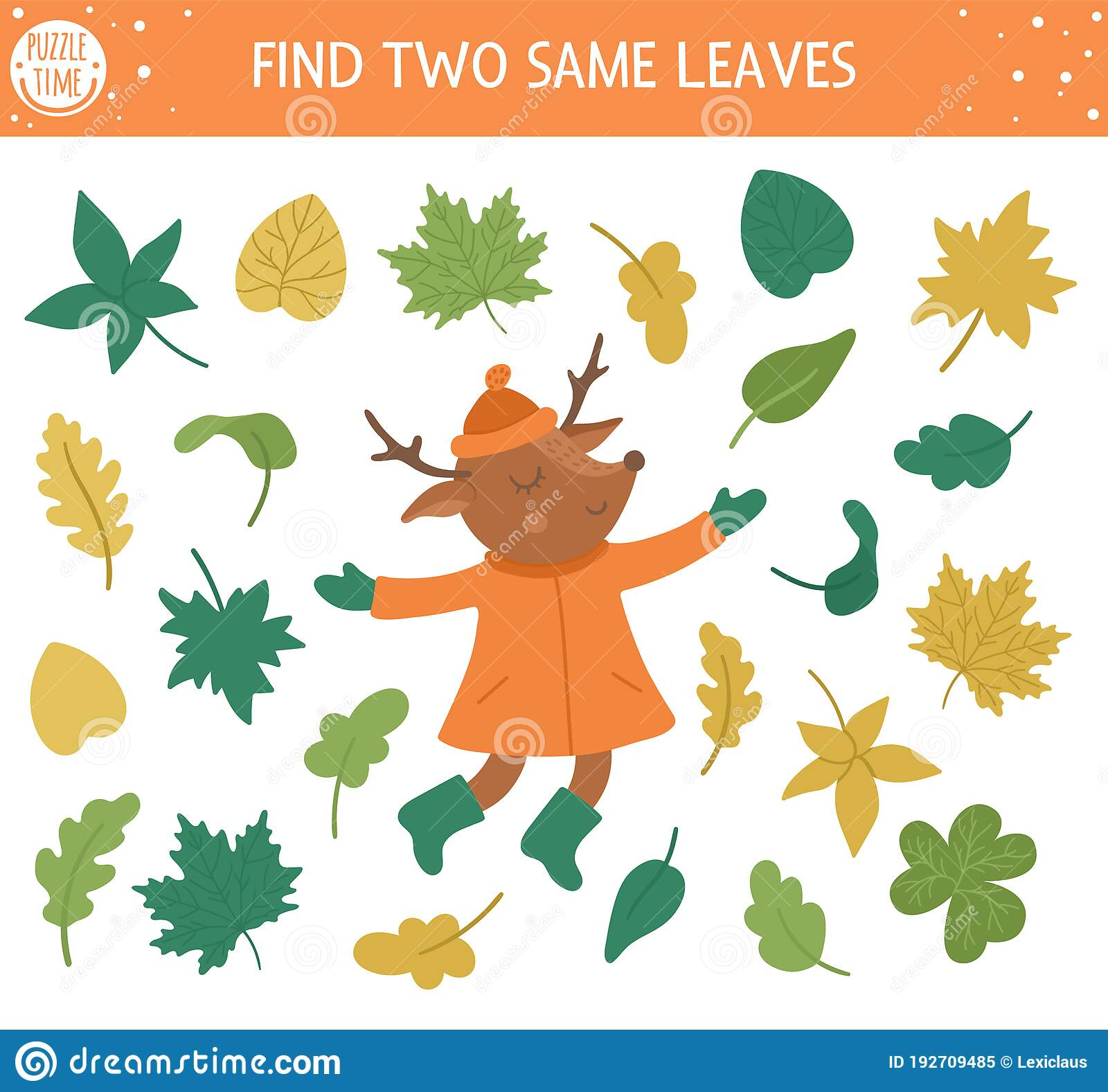 Find Two Same Leaves Autumn Matching Activity For