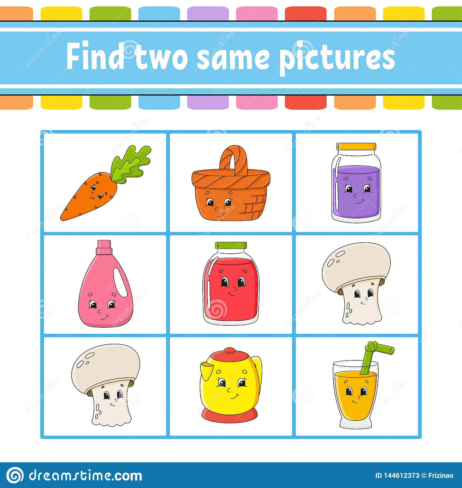 Find Two Same Pictures Task For Kids Education