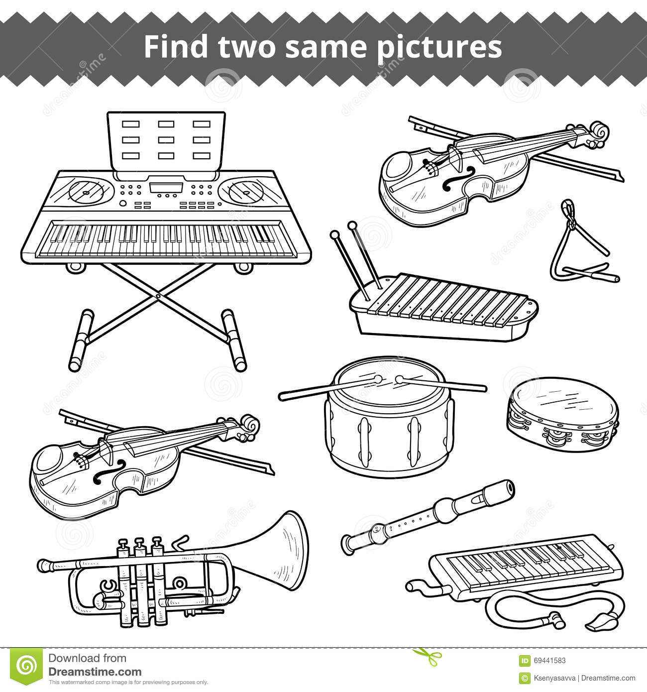Find Two Same Pictures Vector Set Of Musical Instruments