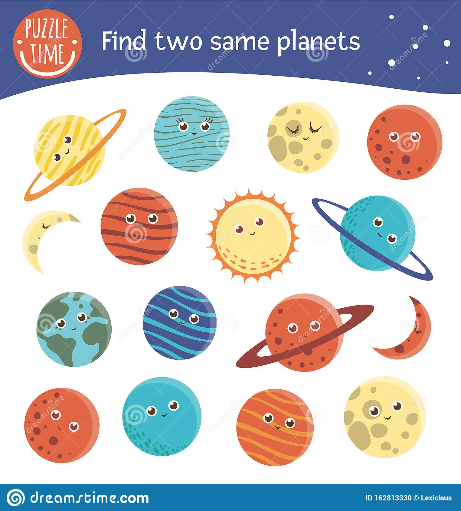 Find Two Same Planets Space Matching Activity For
