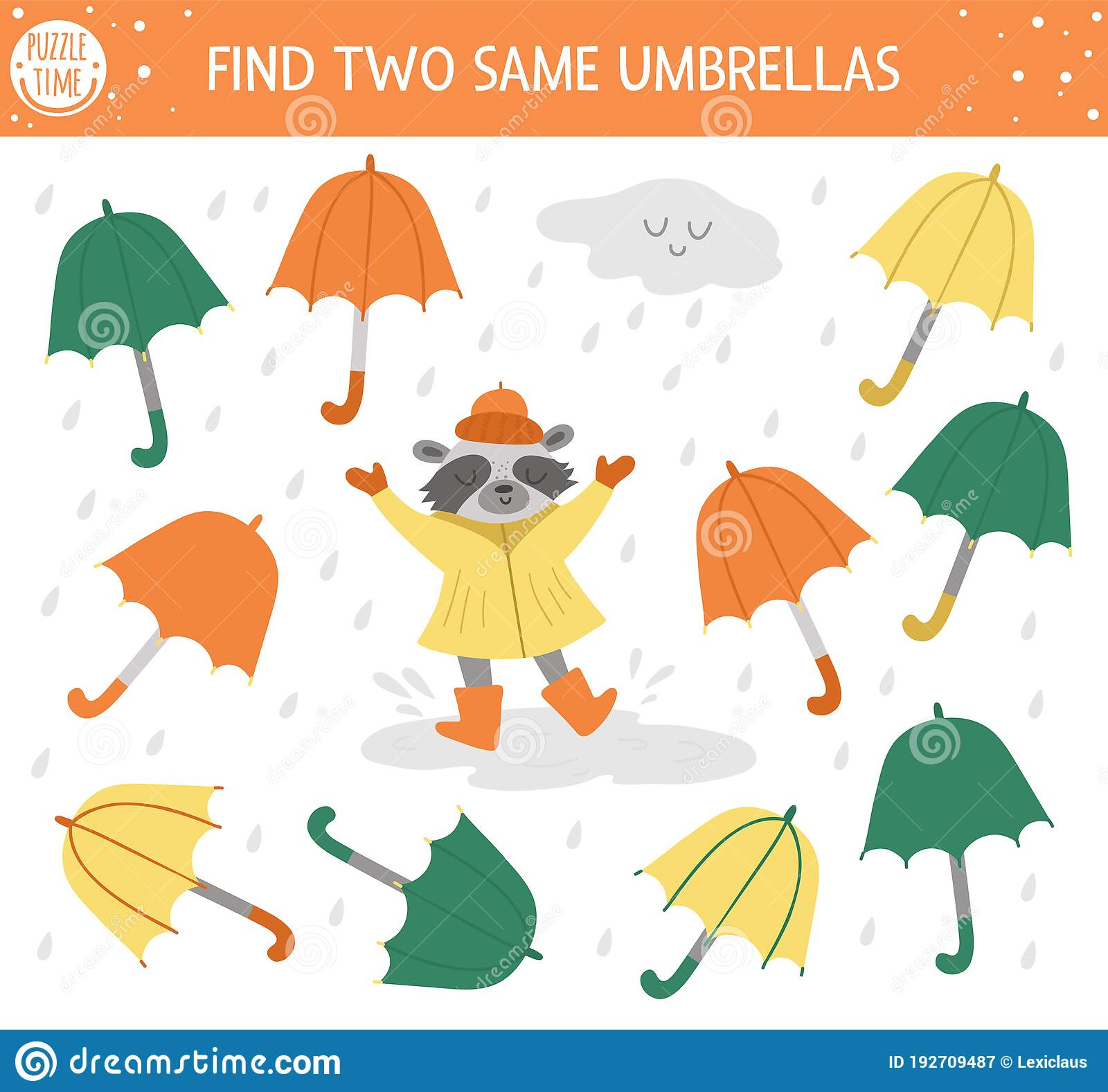 Find Two Same Umbrellas Autumn Matching Activity For