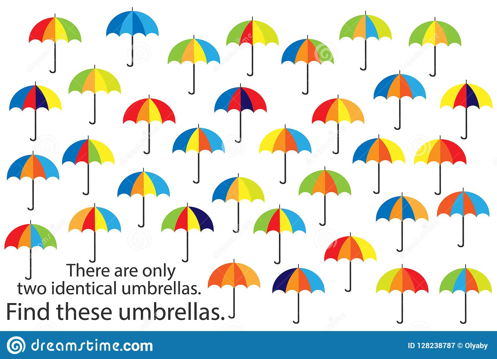 Find Only Two Same Umbrellas Fun Education Autumn Puzzle