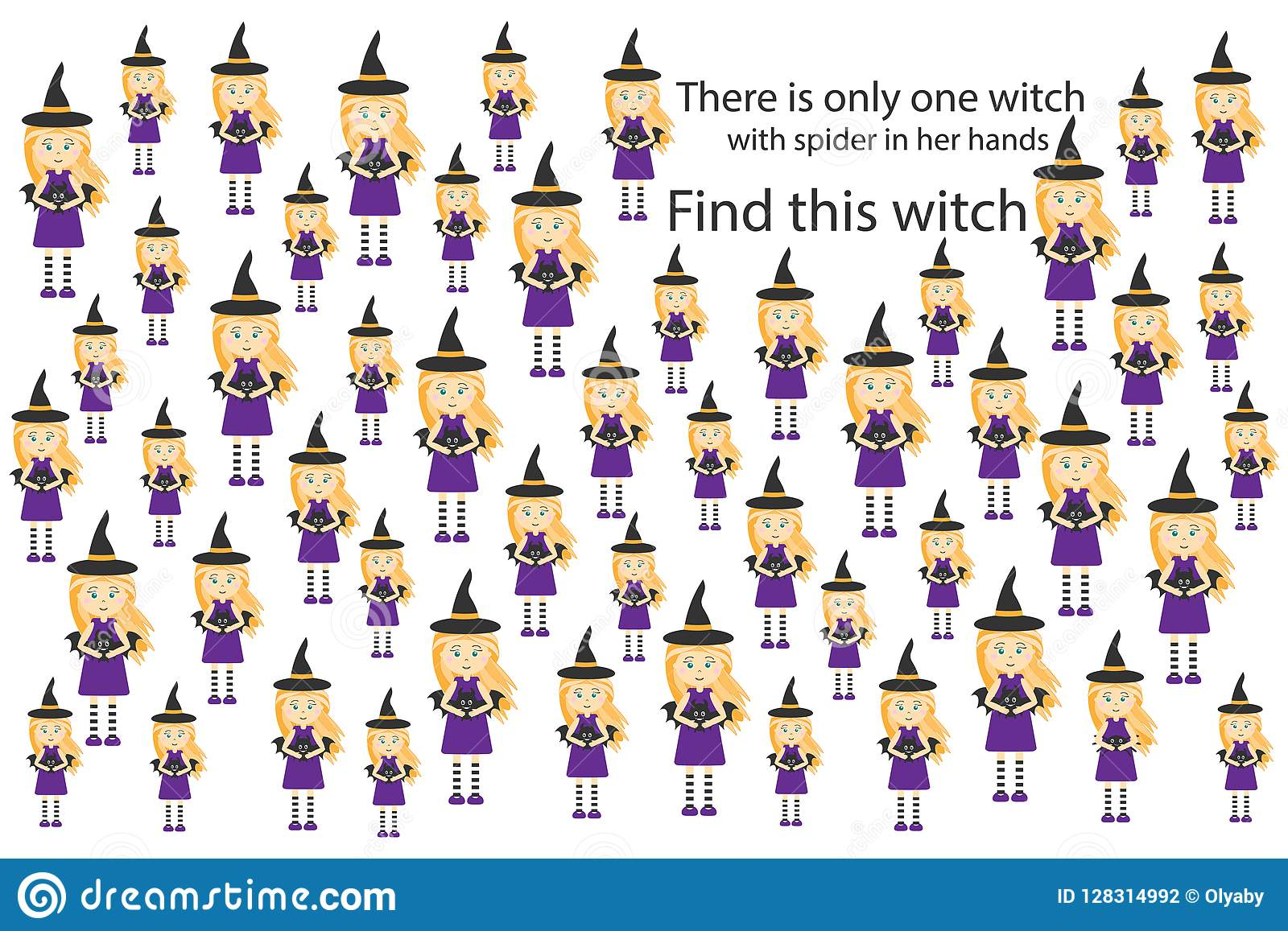 Find Witch With Spider Halloween Fun Education Puzzle