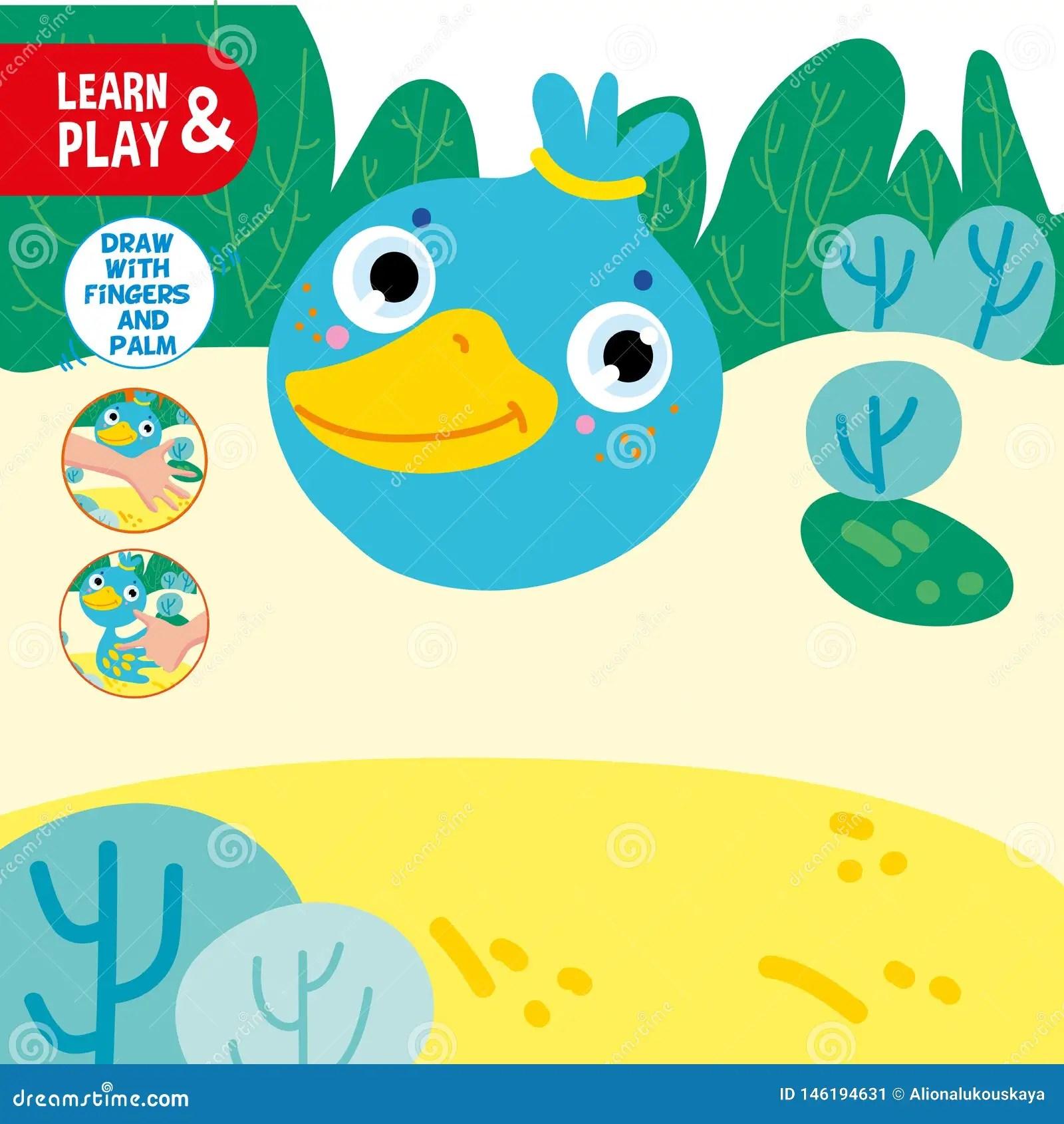 Finger Drawing Game Duck Sample Worksheet Learn Stock