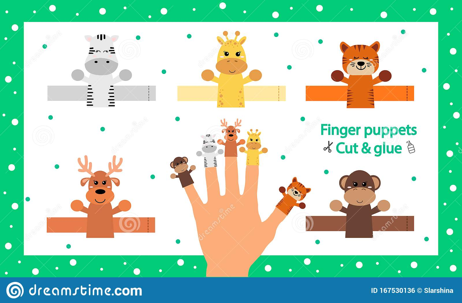 Finger Puppets Vector Illustration Cut And Glue The