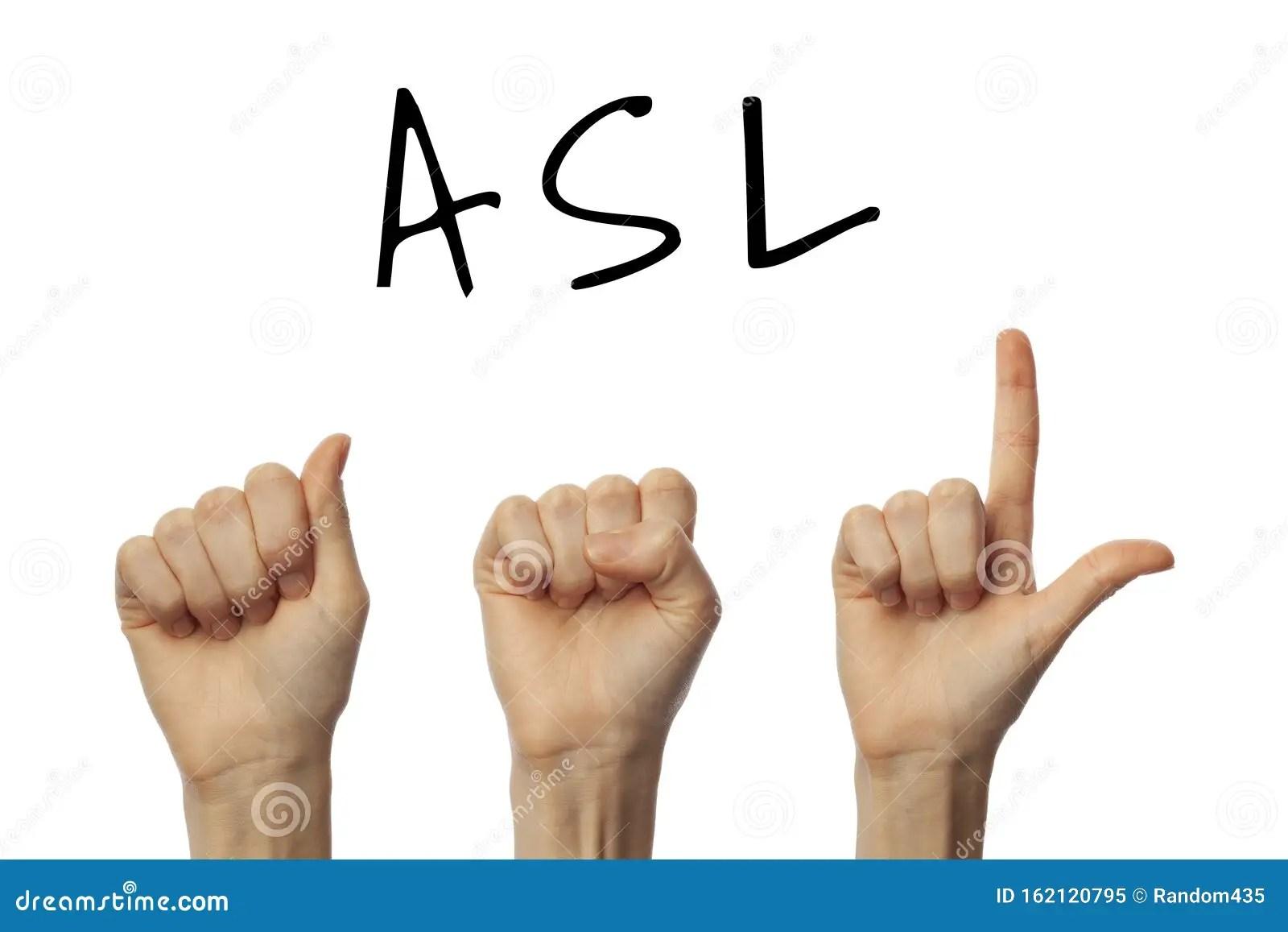 Finger Spelling Abbreviation Asl On White Background