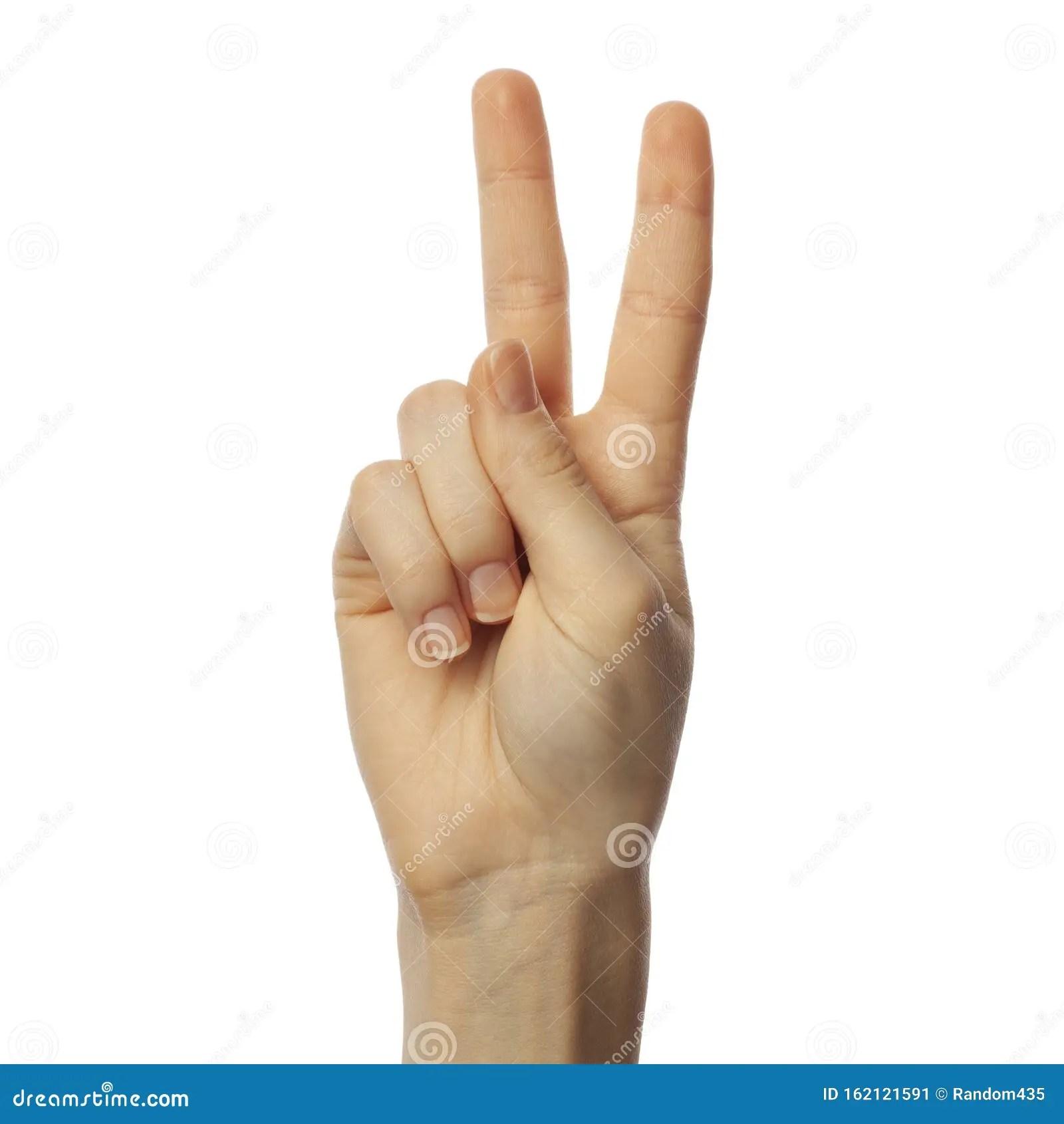Finger Spelling Letter V In American Sign Language On