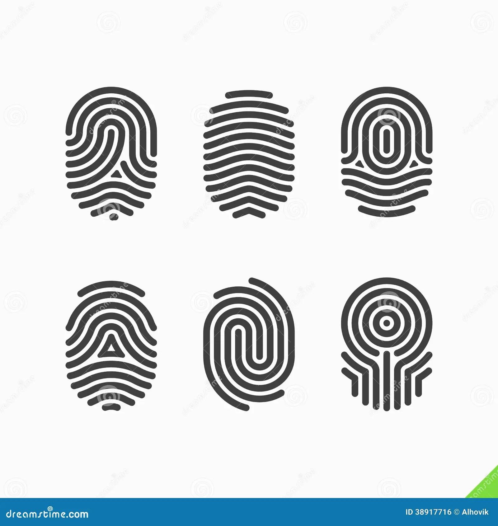 Fingerprint Icons Set Stock Vector Image Of Fingertip