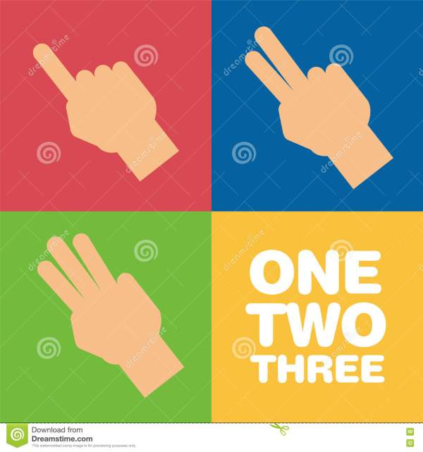 Fingers Showing Two And Three Stock Vector