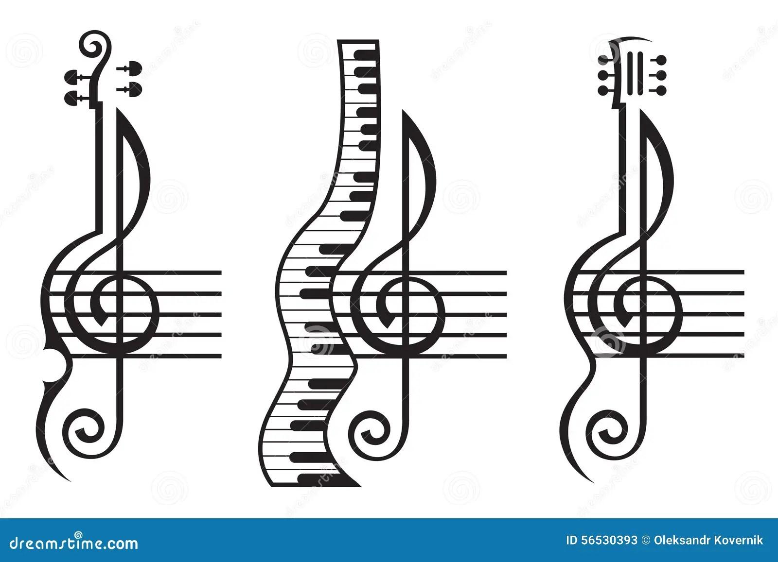 Fiol Gitarr Piano Och G Klav Vektor Illustrationer