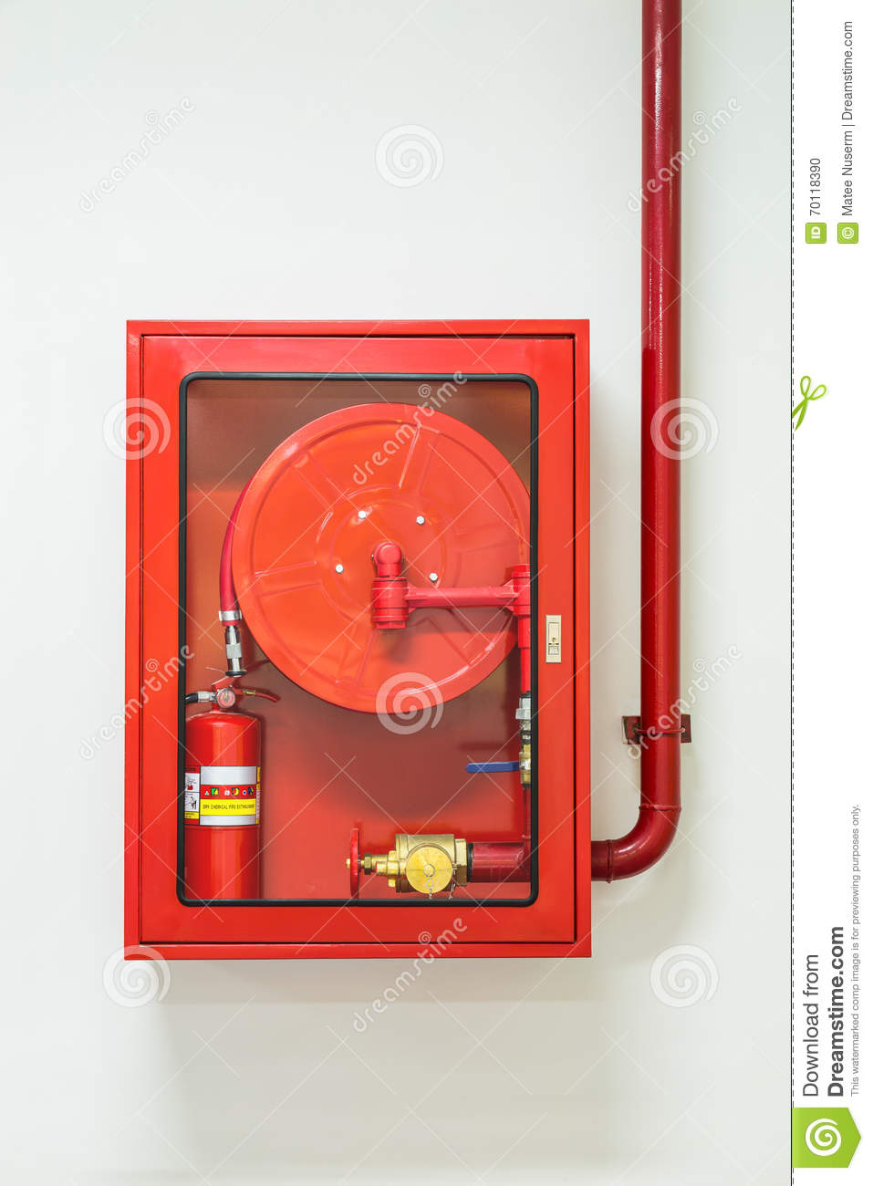 Fire Hose And Extinguisher Cabinet Stock Photo  Image