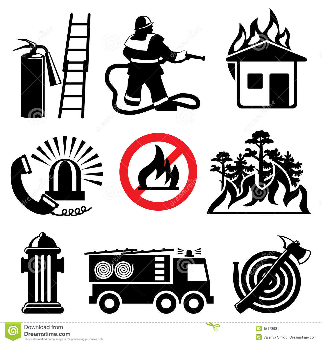 Fire safety icons stock vector. Illustration of tank