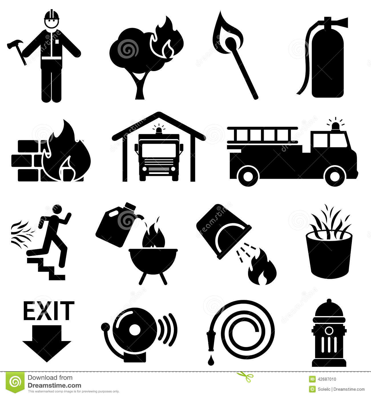 Fire Safety Icons Stock Vector