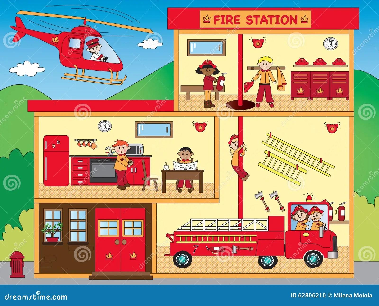 hight resolution of illustration of interior of fire station