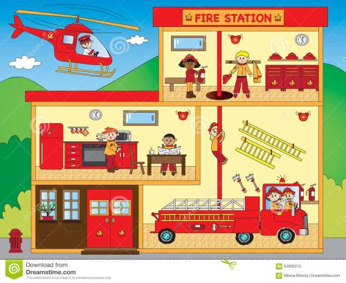 small resolution of illustration of interior of fire station