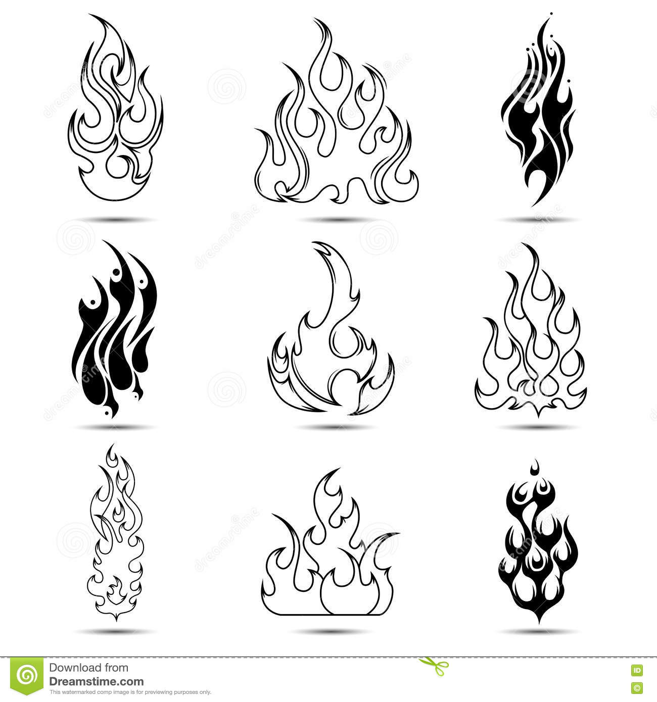 Fire Tattoo Icon Set Stock Vector Illustration Of