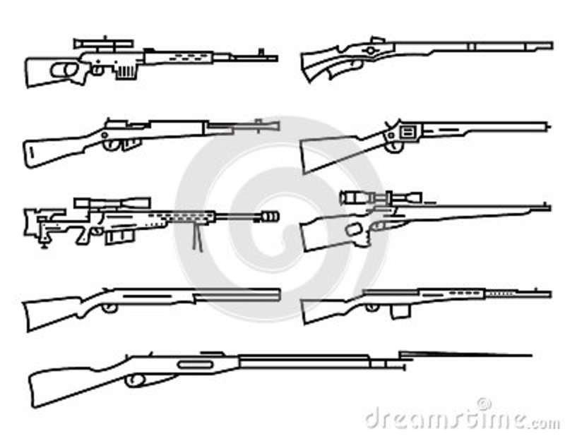Firearm Set. Gun, Rifle, Carbine. Flat Design. Outline