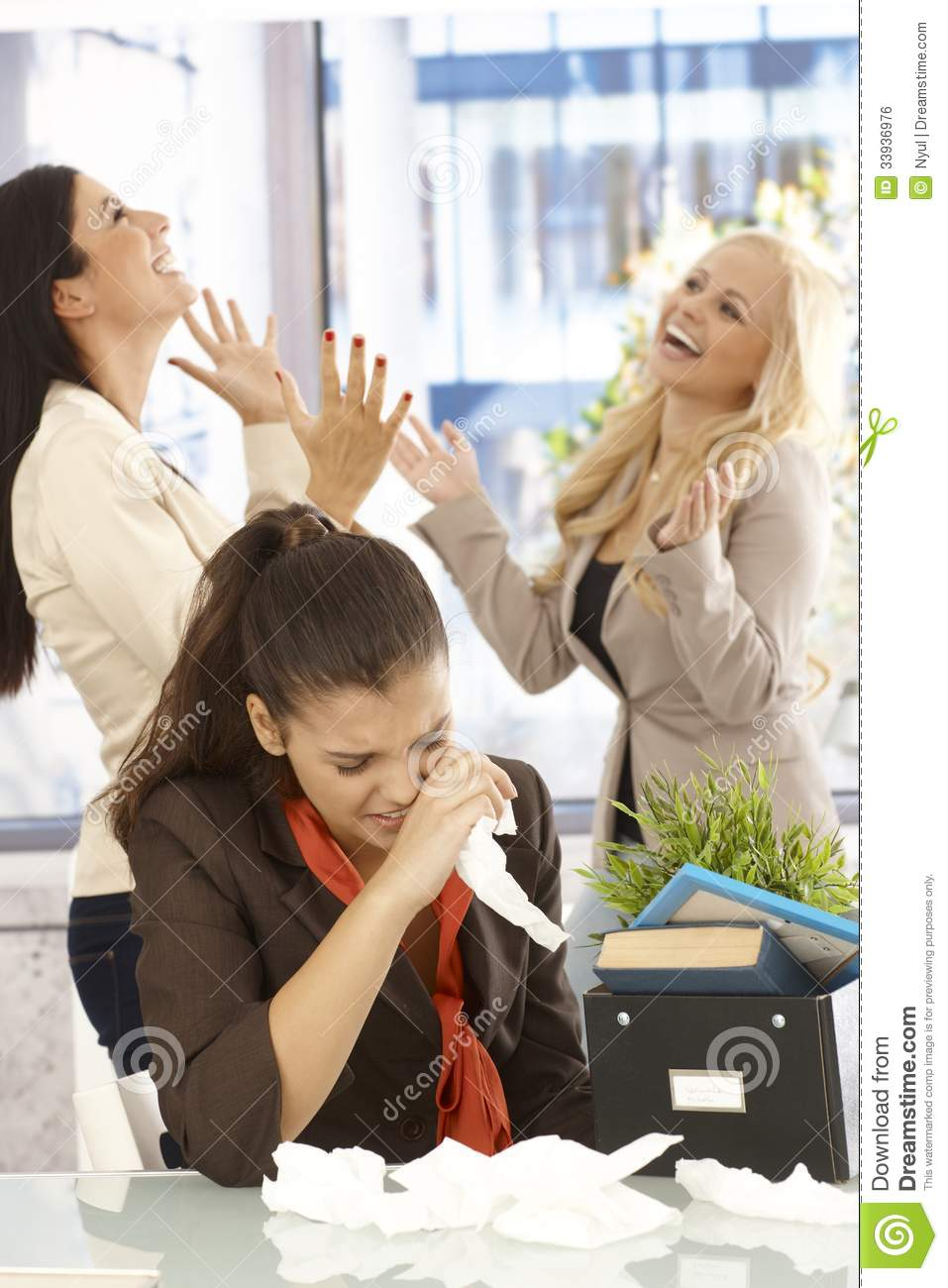 Fired Employee Crying At Desk Stock Photo  Image 33936976