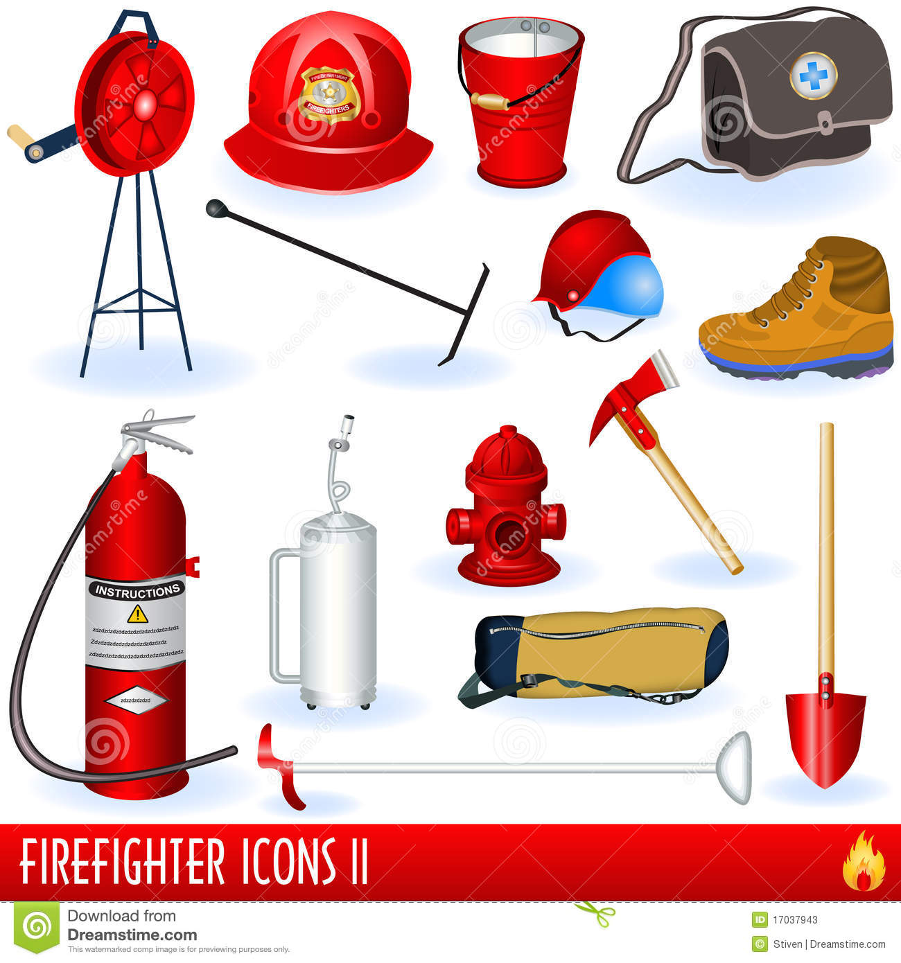 Firefighter Icons Stock Photos