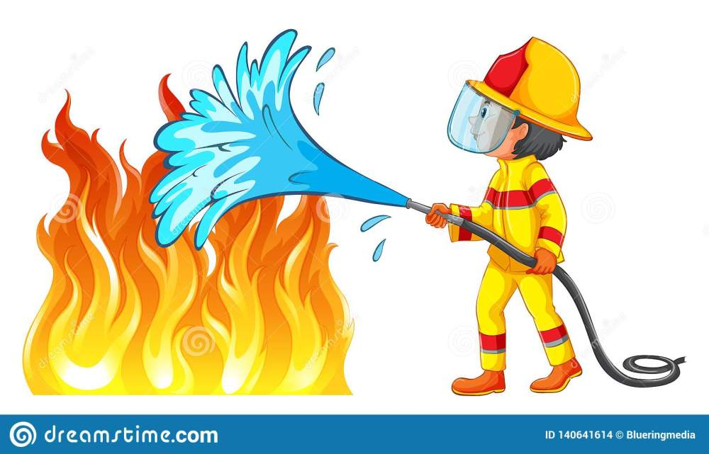 medium resolution of firefighter putting out a fire