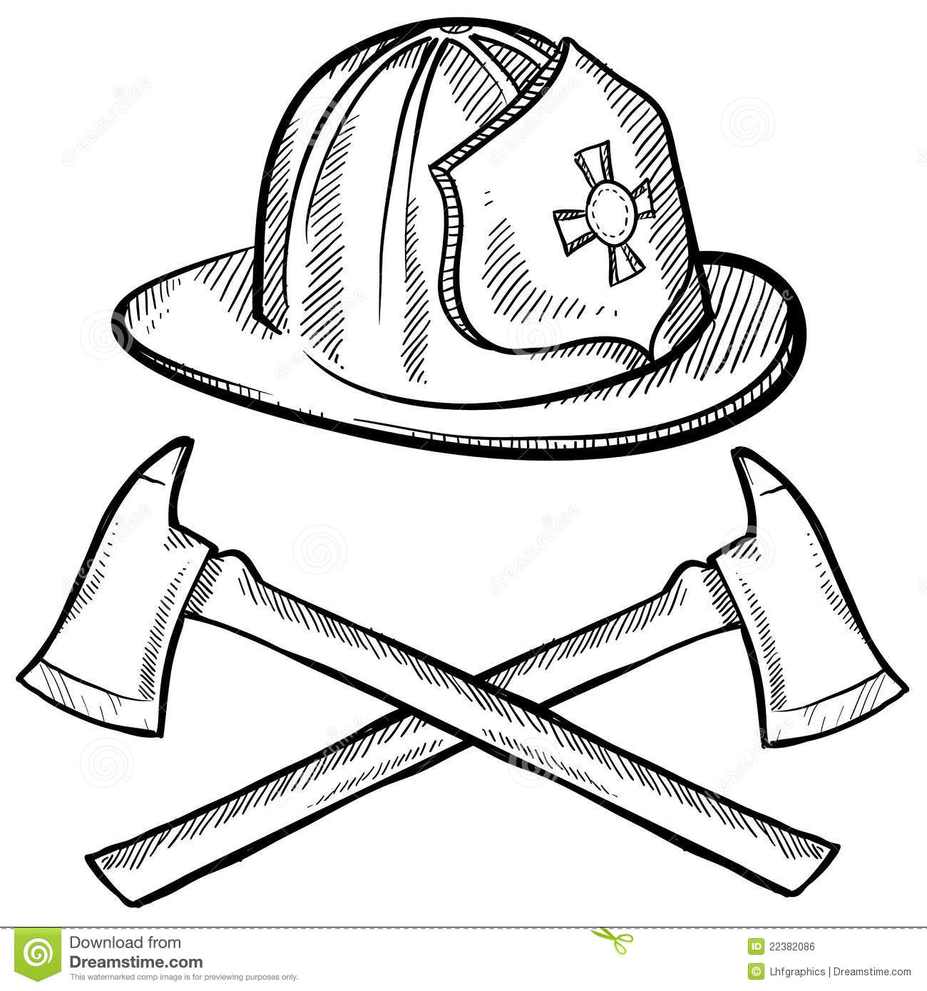Firefighter S Objects Sketch Stock Vector