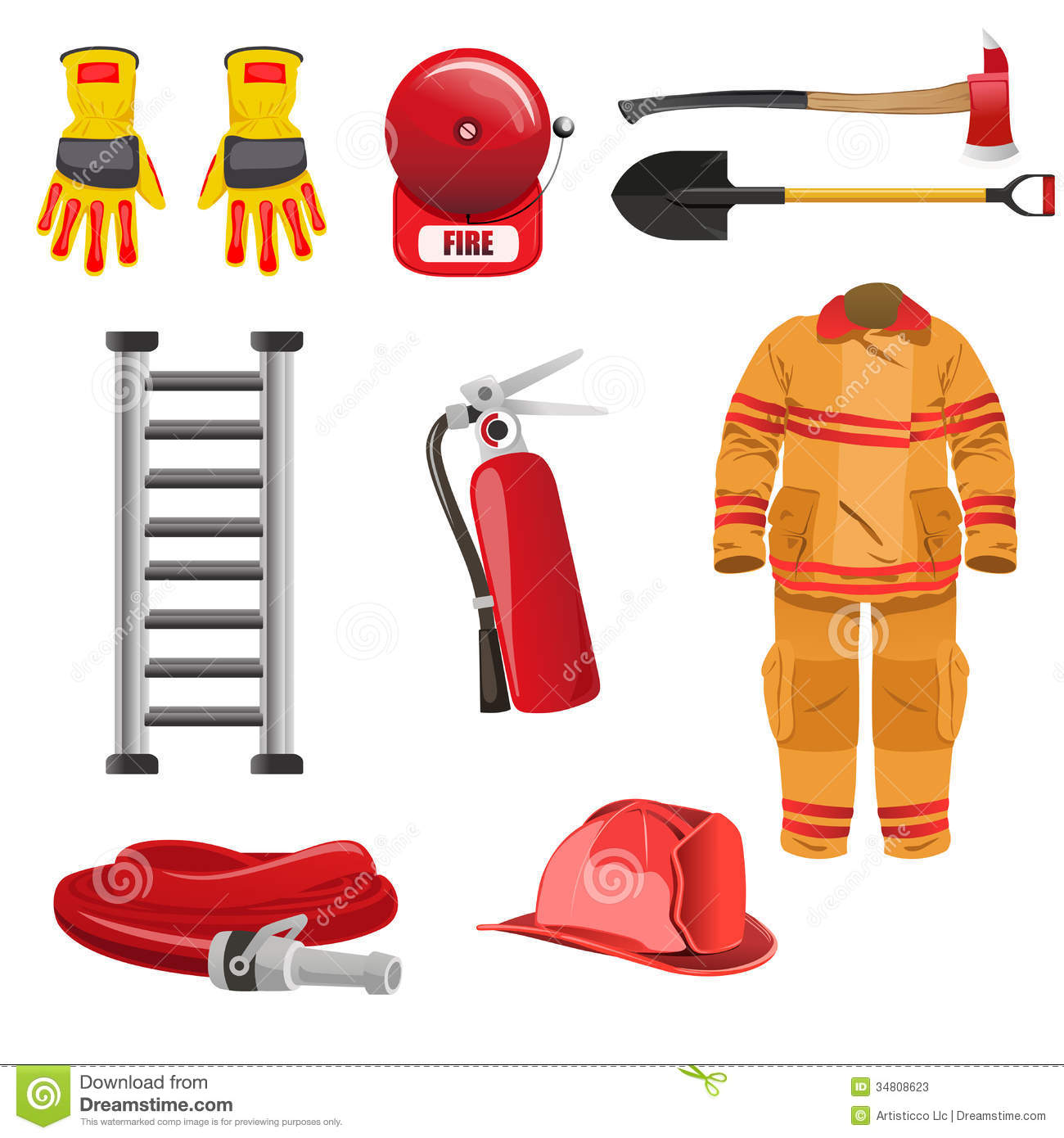 Firefighters Icons Stock Illustration Illustration Of