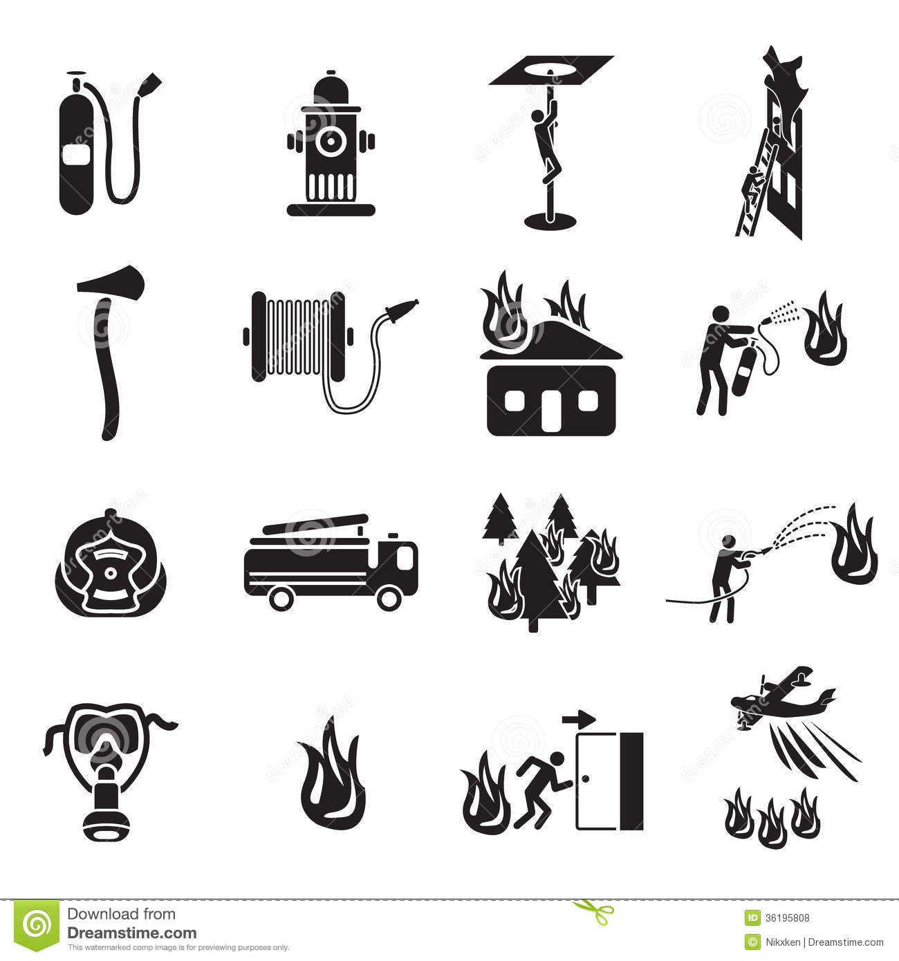 firefighting icons set royalty free stock photos