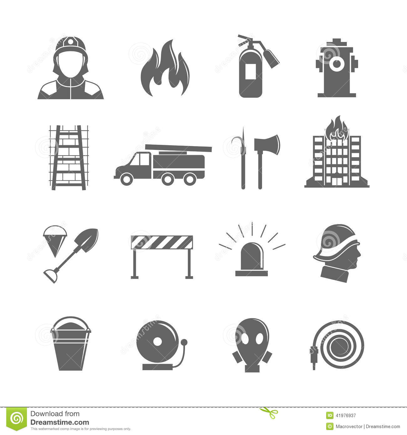 Firefighting Icons Set Stock Vector Image Of Fire