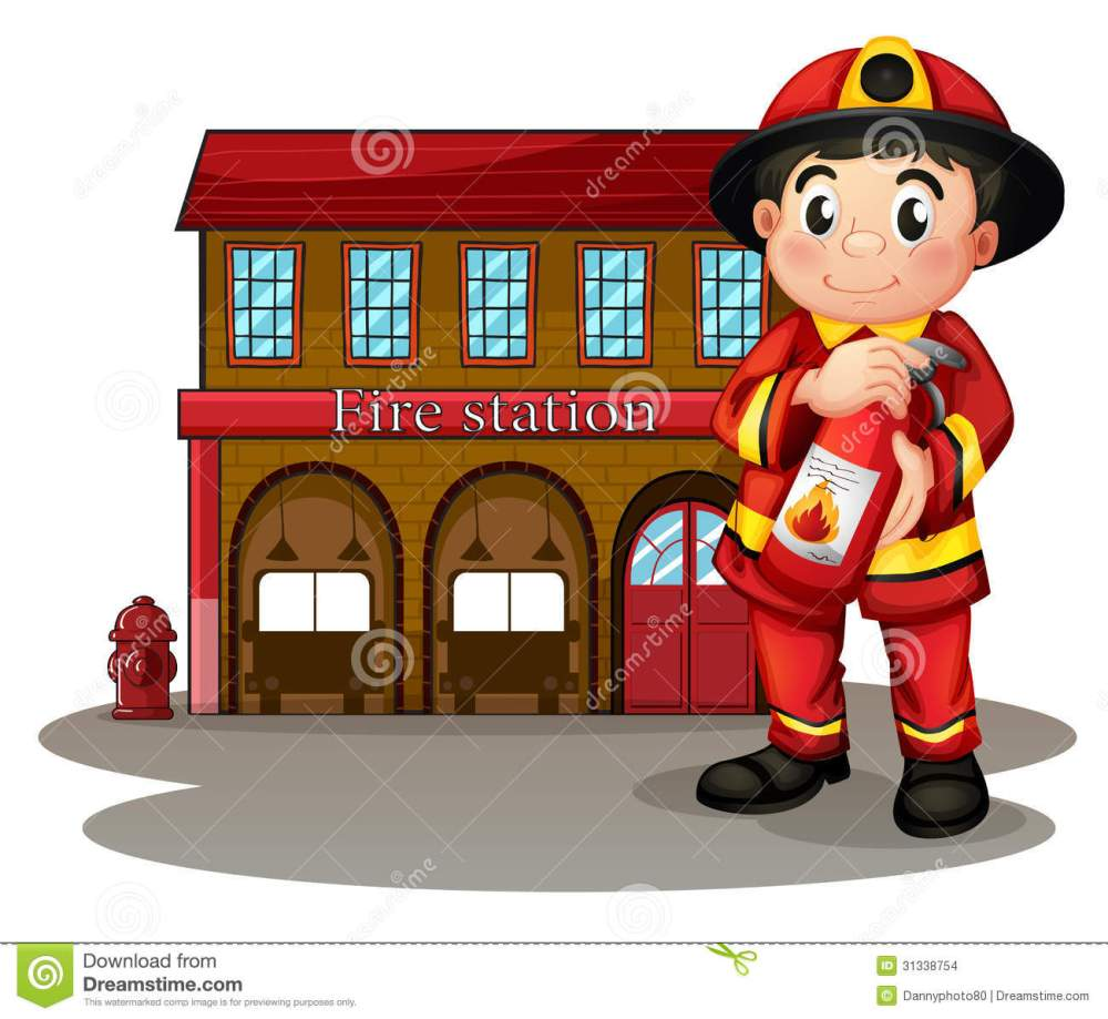 medium resolution of a fireman in front of a fire station holding a fire extinguisher