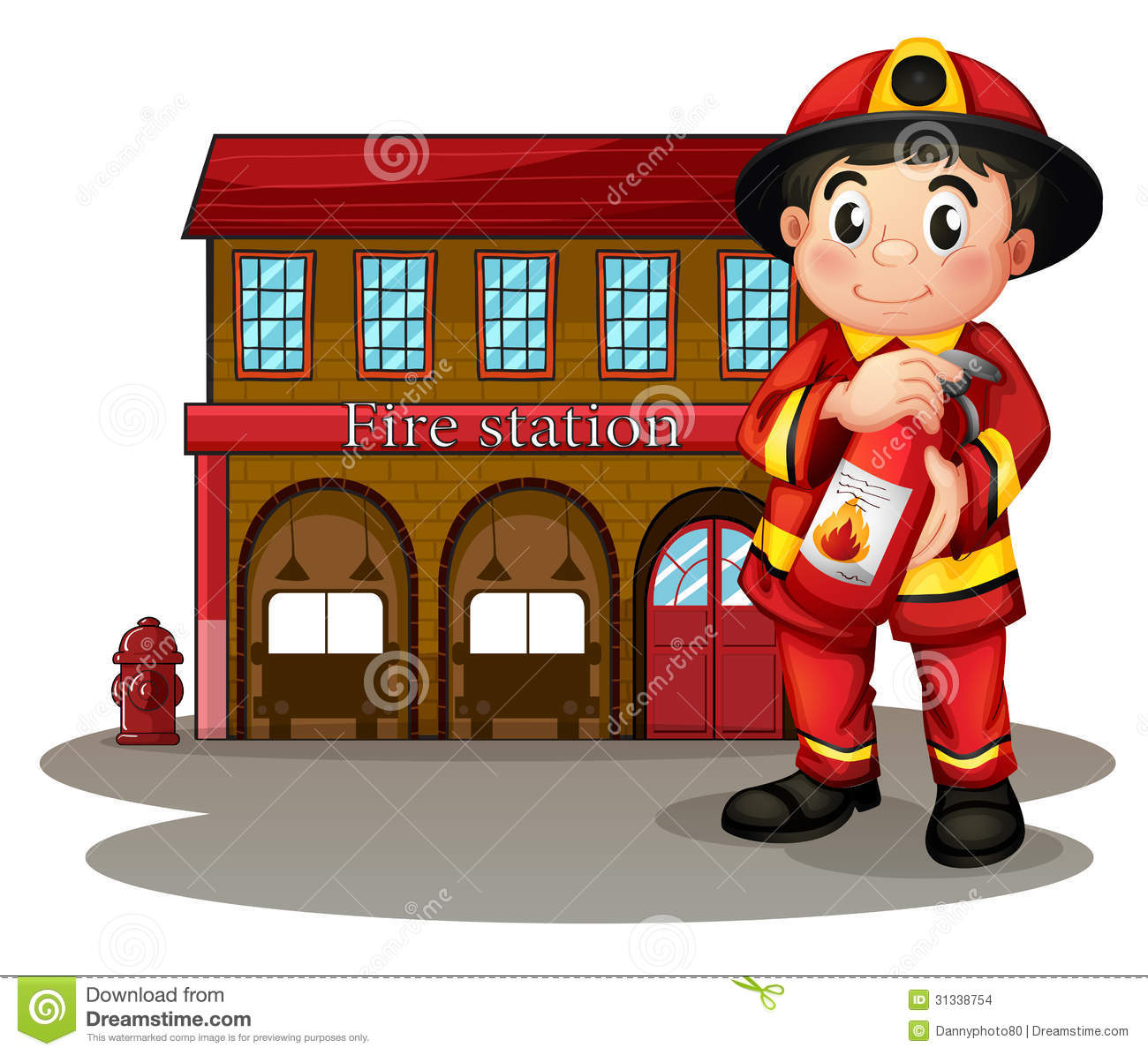 hight resolution of a fireman in front of a fire station holding a fire extinguisher