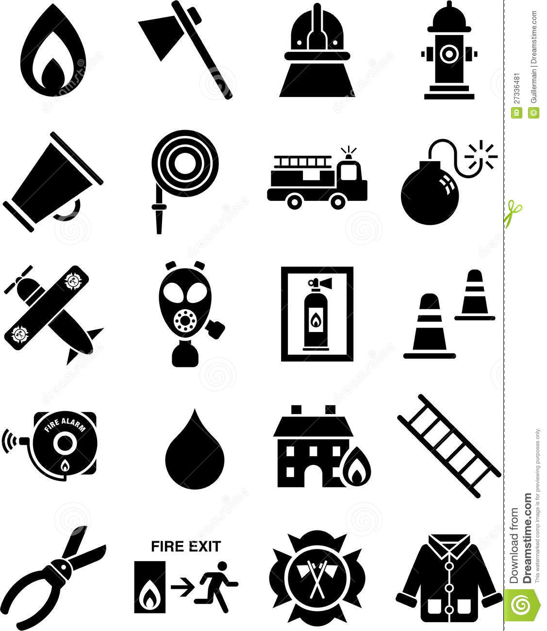 Fireman Icons Stock Vector Illustration Of Icons Hose