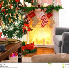 Beautiful Living Rooms At Christmas 3 Piece Table Set For Room Fireplace In Decorated Stock Photo Image