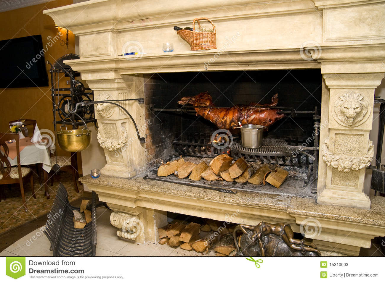 Luxury Fireplace Mantels Fireplace Cooking Stock Image. Image Of Cooking, Open