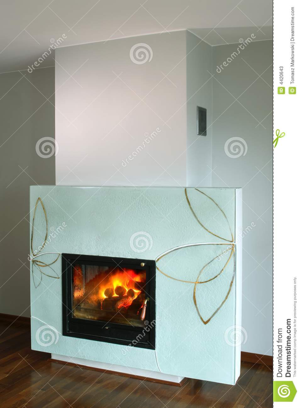 Fireplace With Glass Surround Stock Photos  Image 4420643