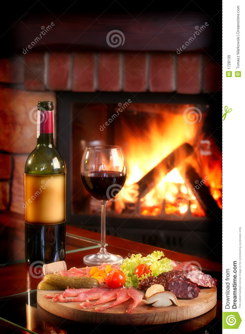 Fireplace And Red Wine Royalty Free Stock Images  Image