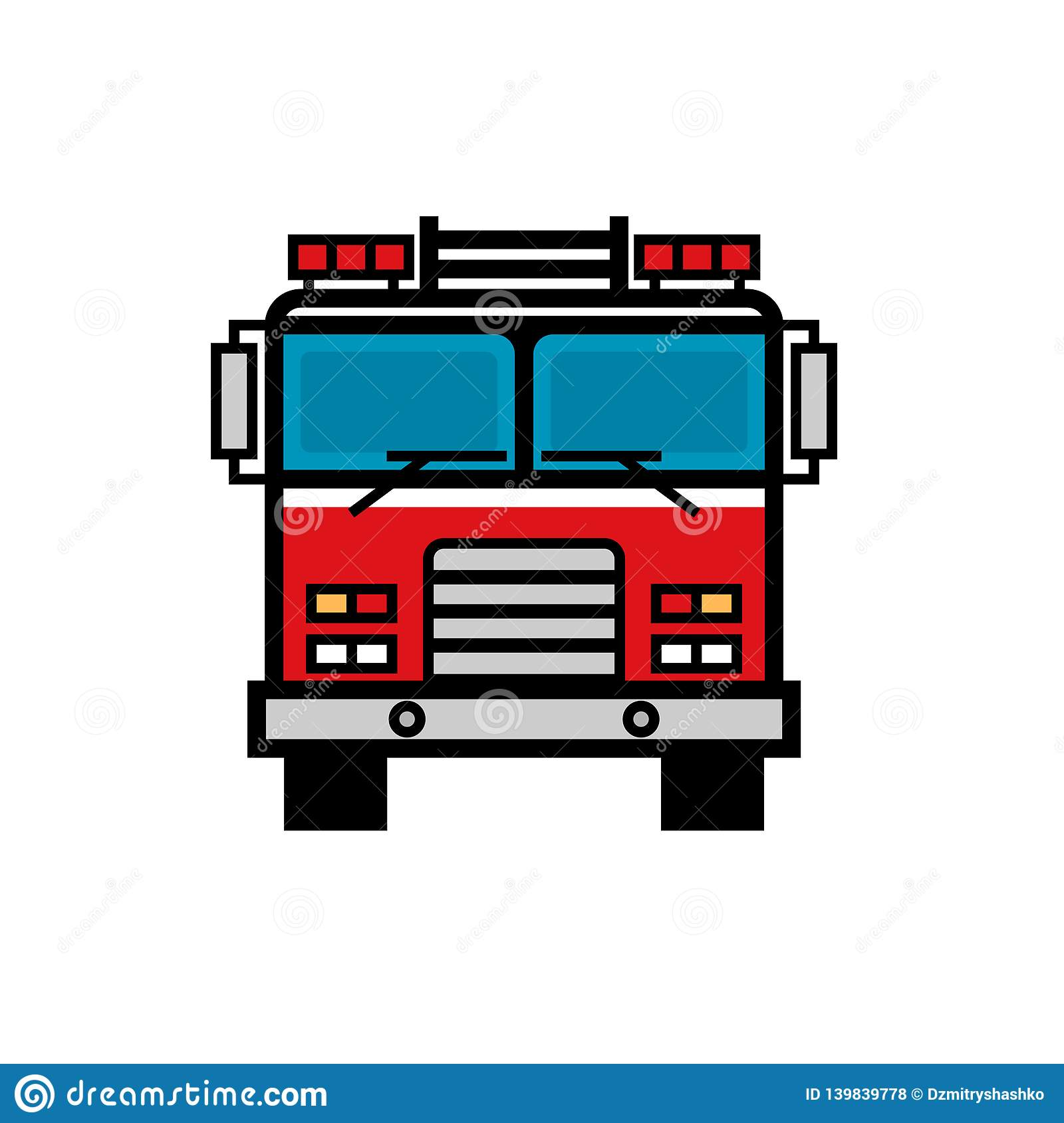 hight resolution of firetruck front view filled outline icon clipart image isolated on white background