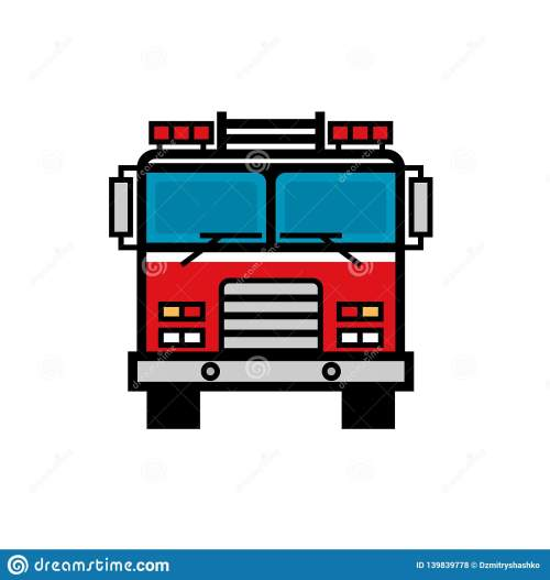 small resolution of firetruck front view filled outline icon clipart image isolated on white background