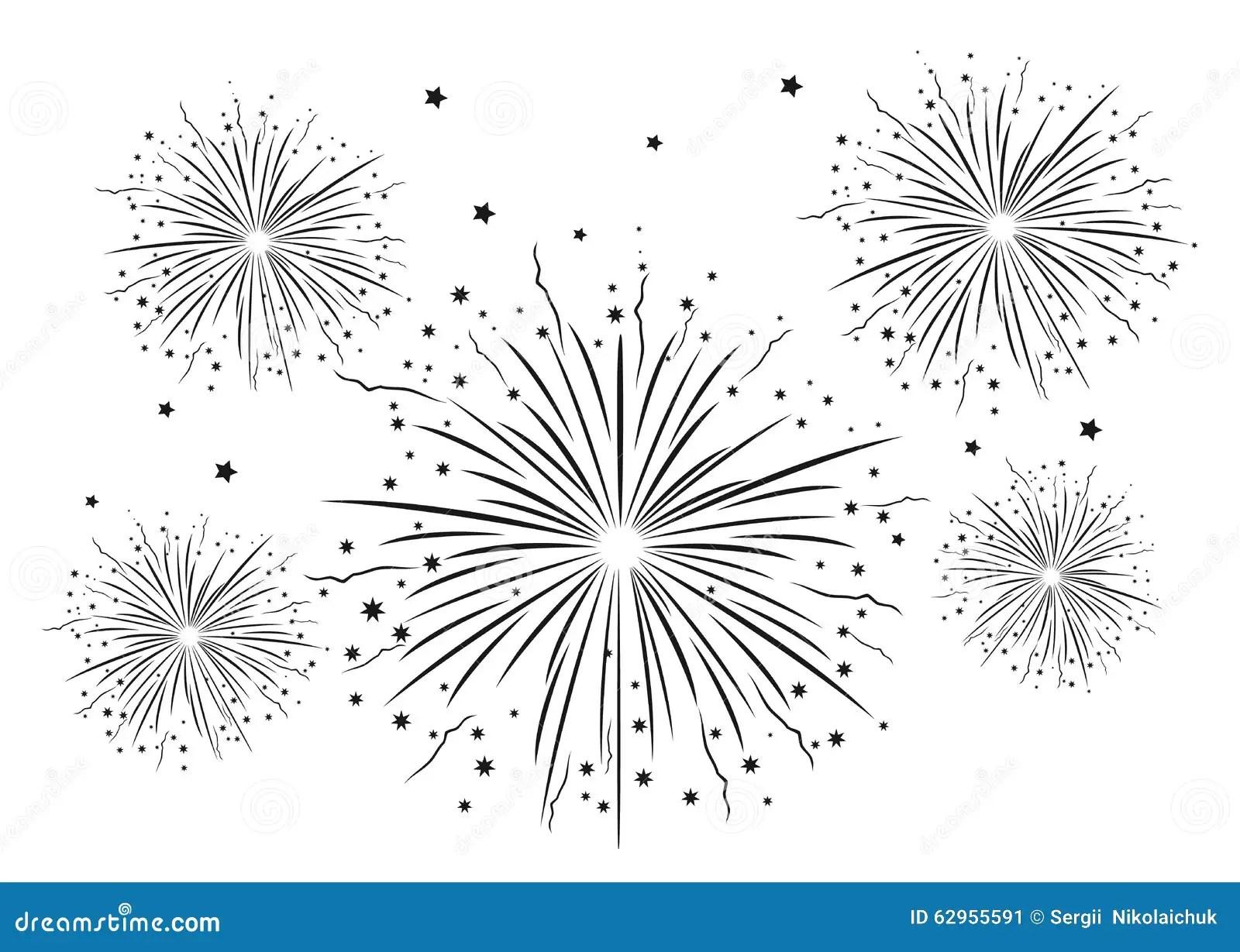 Fireworks Black And White Stock Vector