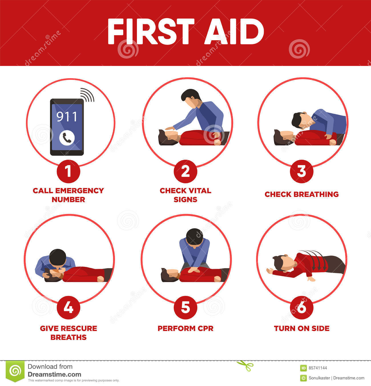 First Aid Instructions Infographics And Vector Icons Of