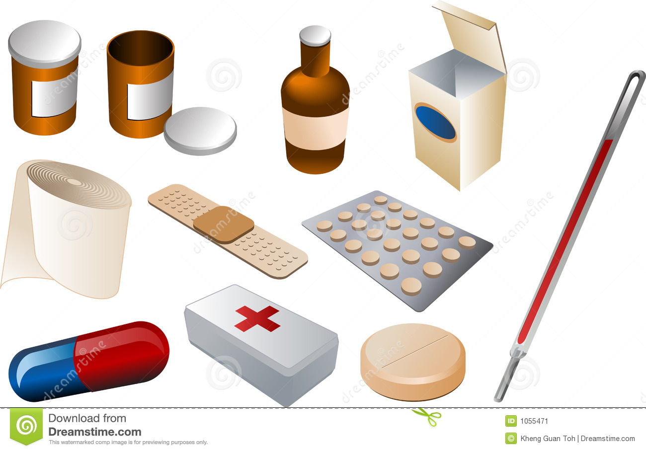 First Aid Kit Stock Vector Illustration Of Thermometer