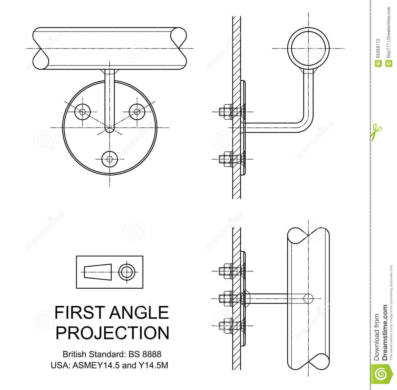 First Angle Orthographic Projection Stock Vector