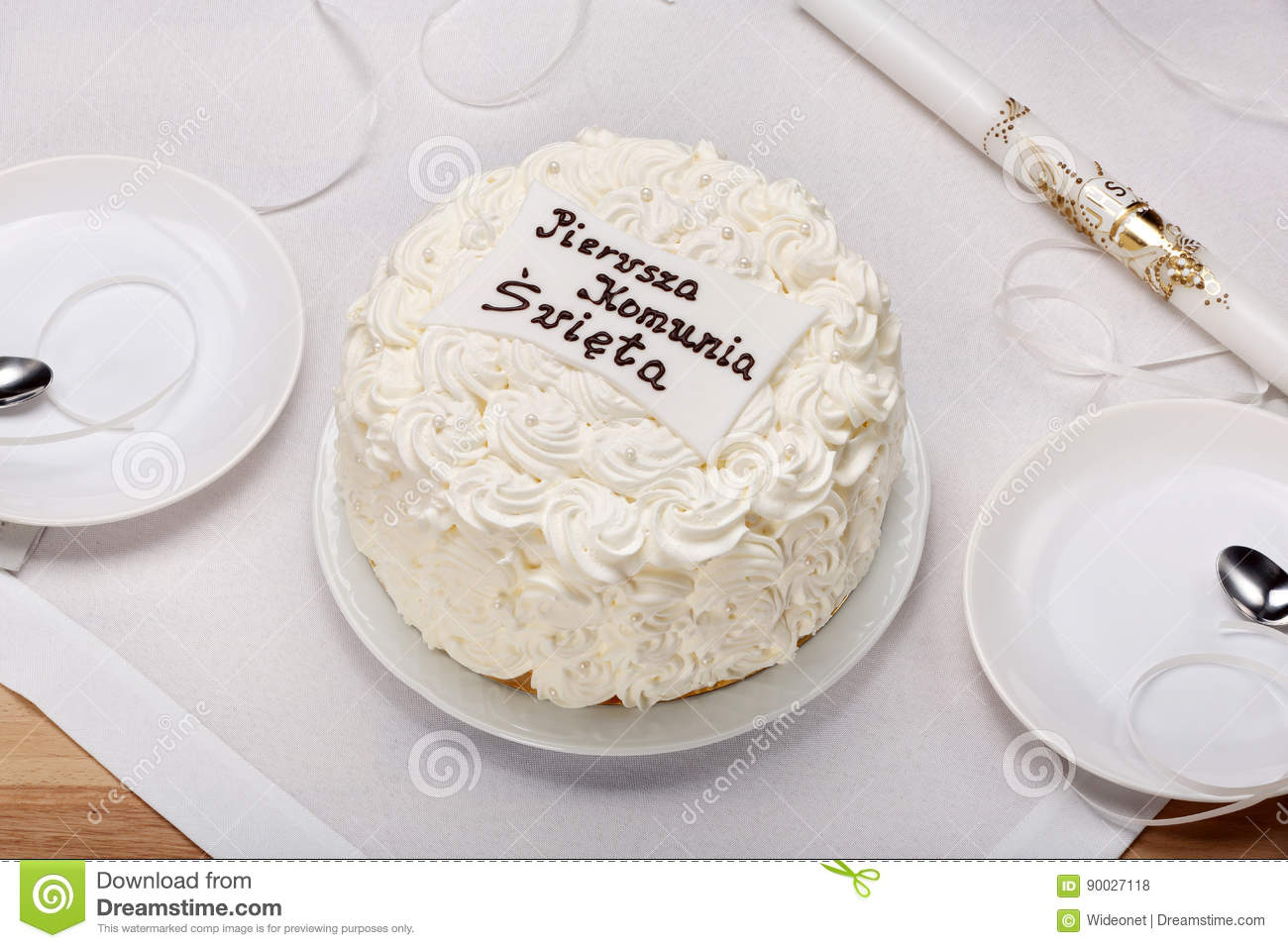 First Holy Communion Cake On The Table Stock Photo Image Of