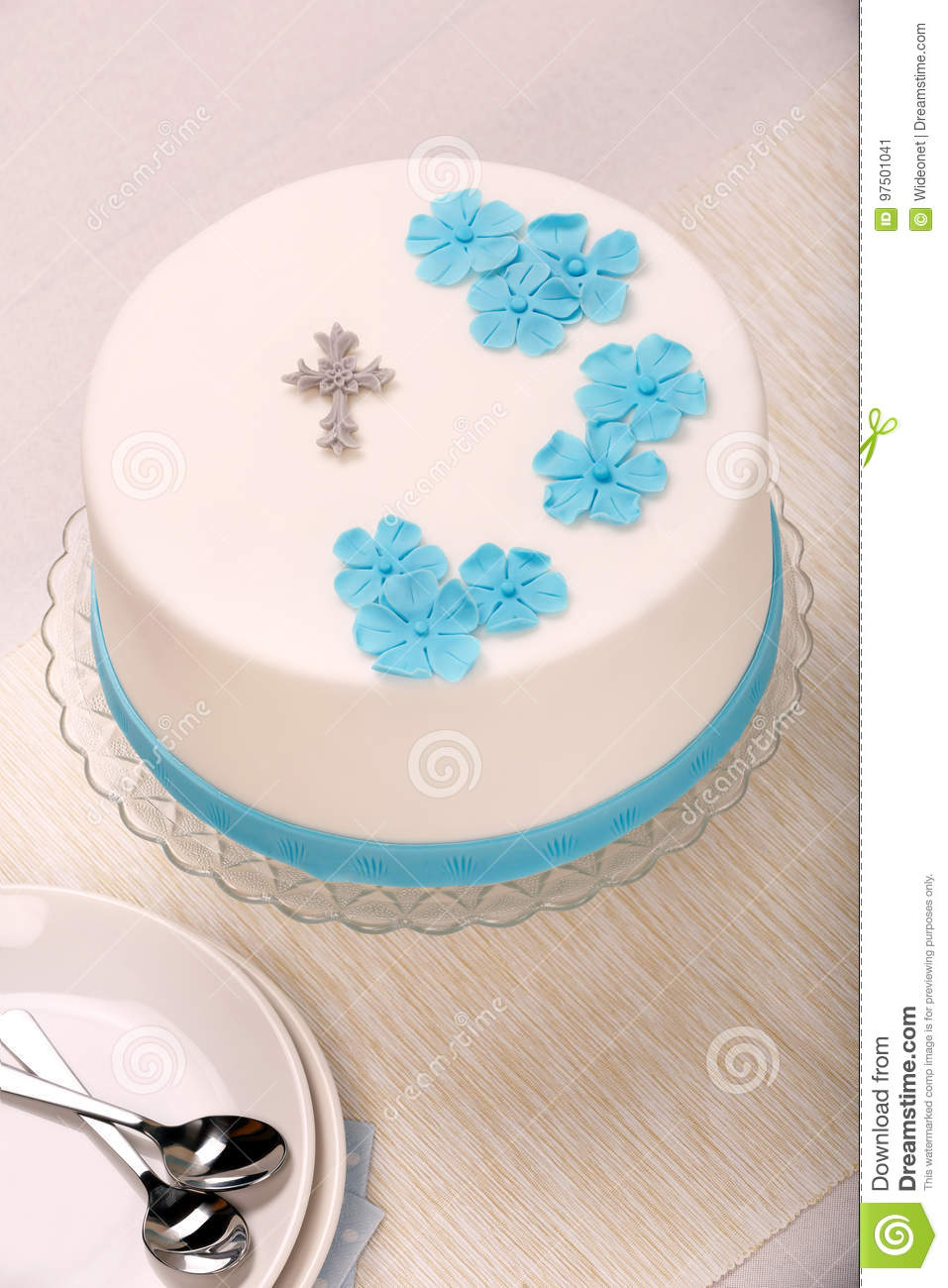 First Holy Communion Cake On The Table Stock Image Image Of Cream