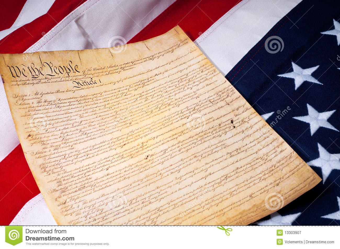 The First Page Of The Us Constitution Stock Image