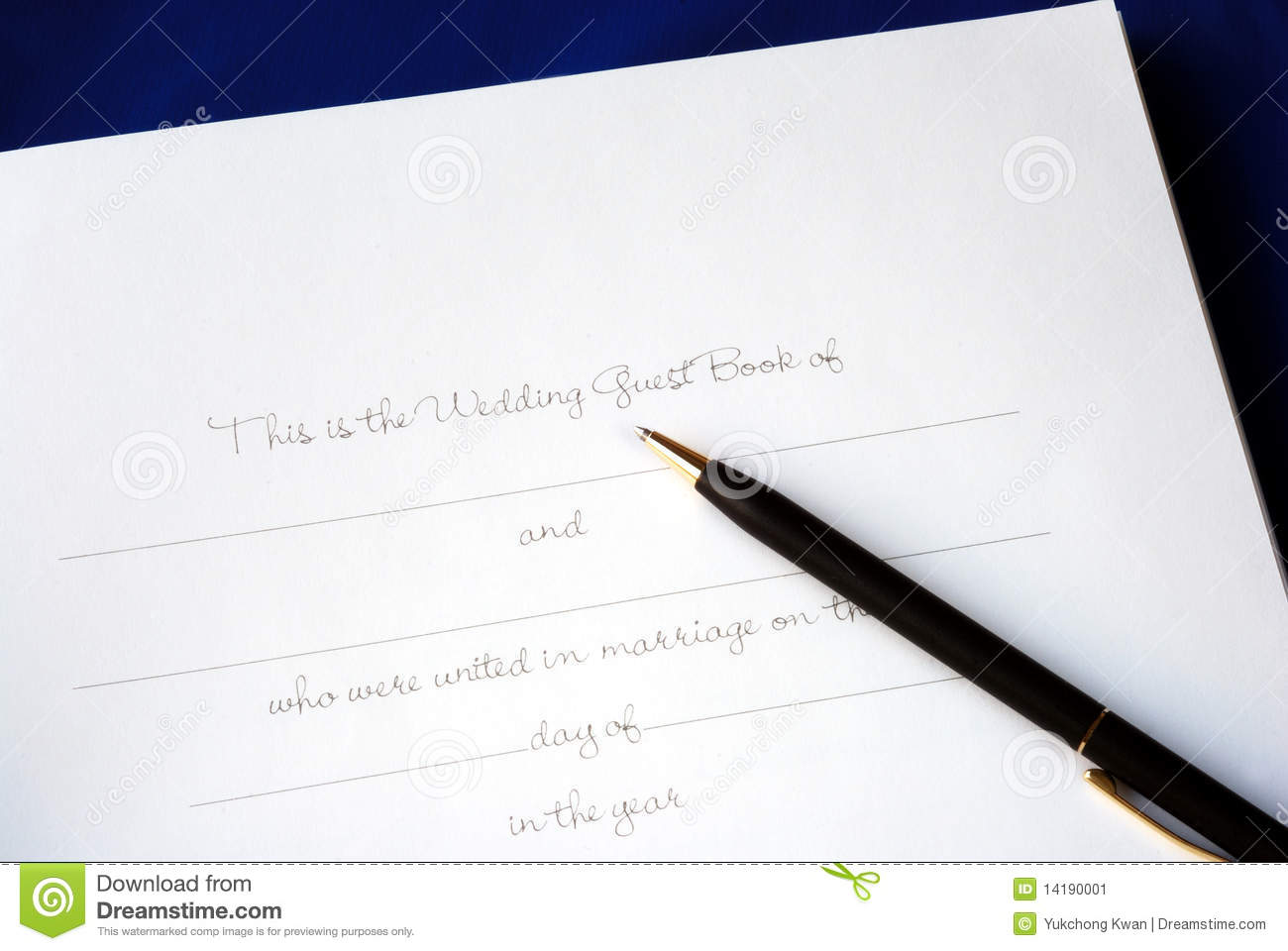 The First Page Of A Wedding Guest Book Stock Image  Image 14190001