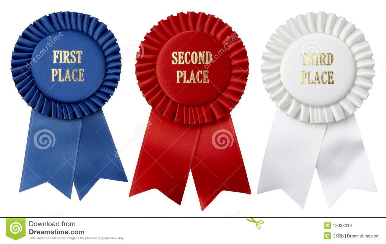 First Second Third Place Ribbons Stock Images