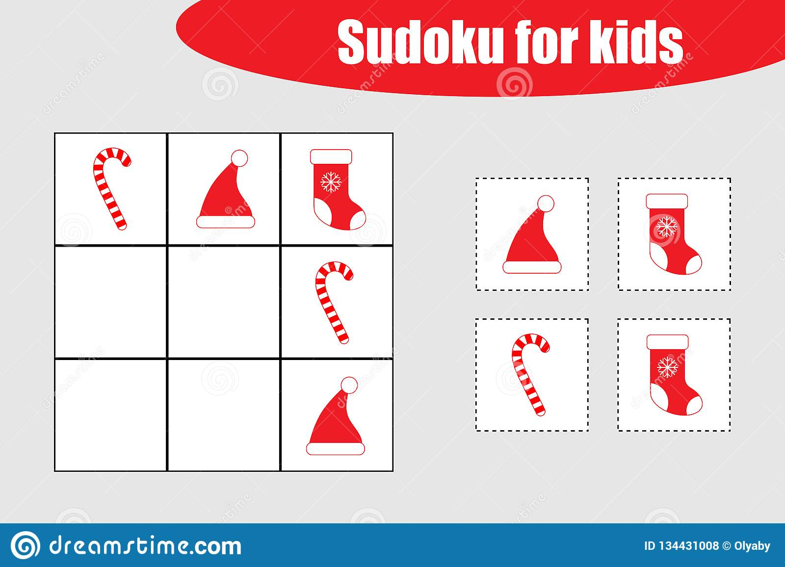 First Sudoku Game With Christmas Pictures For Children