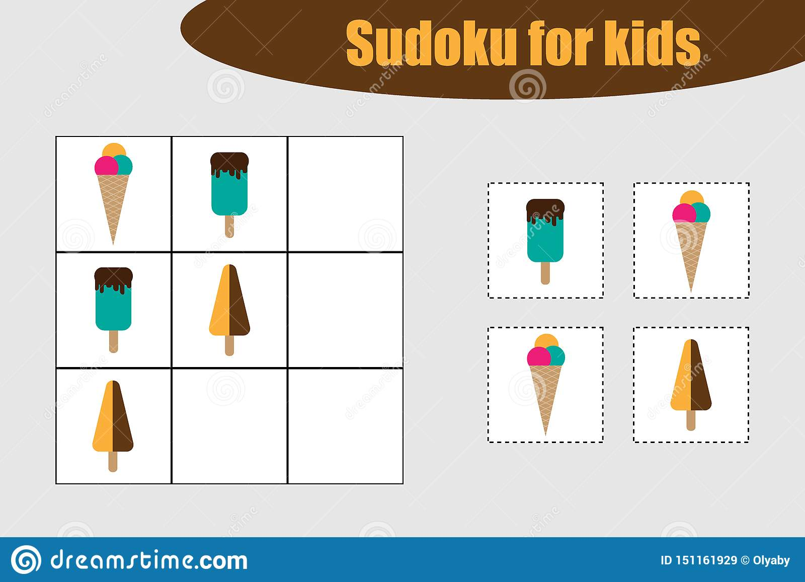 First Sudoku Game With Ice Creams Pictures For Children