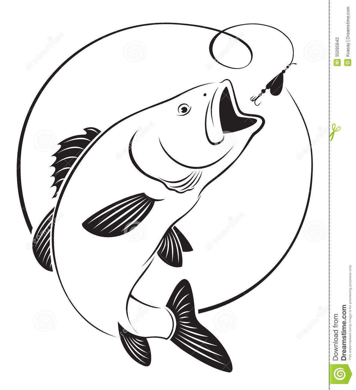 Fish bass stock vector. Illustration of sports, bass