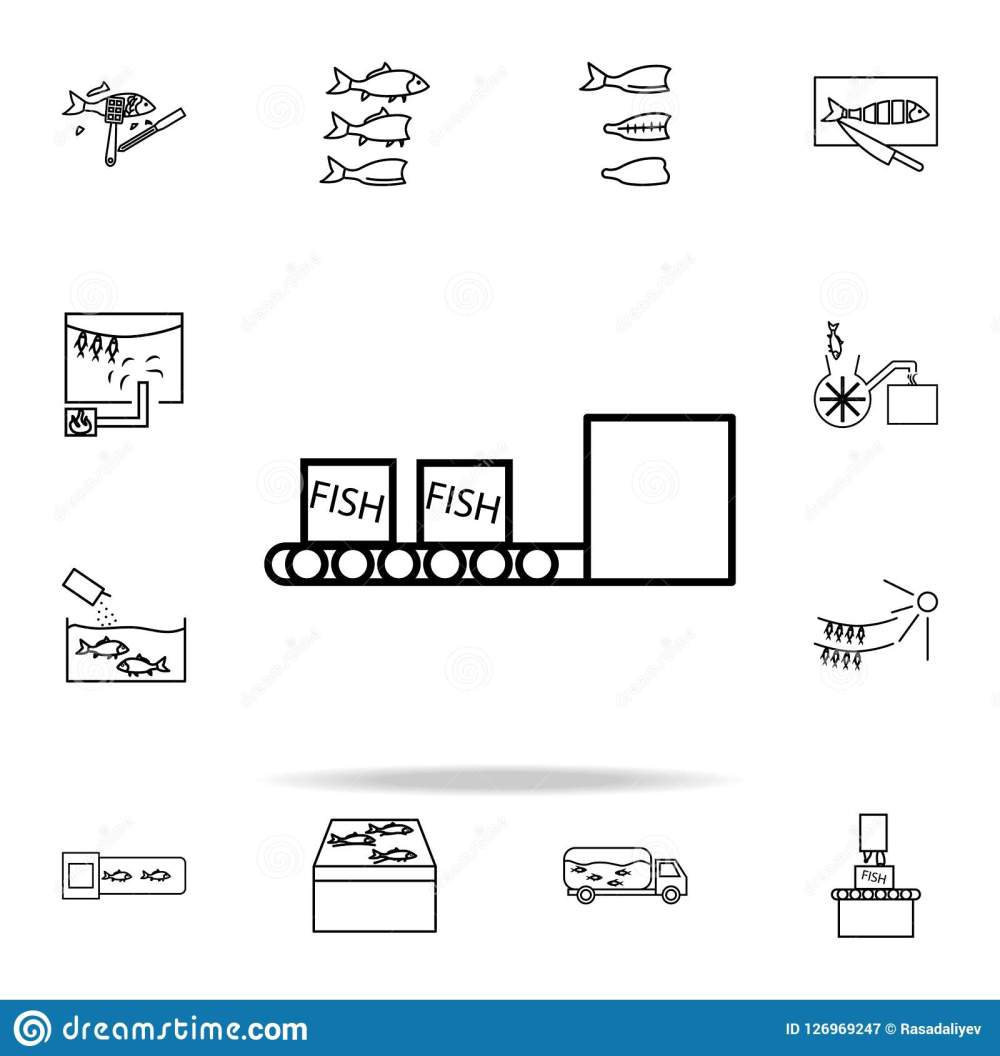 medium resolution of fish boxes on conveyor belt icon fish production icons universal set for web and mobile